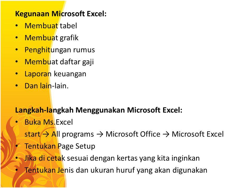 Kegunaan Microsoft Excel: Membuat tabel Membuat grafik Penghitungan rumus Membuat daftar gaji Laporan keuangan Dan lain-lain. Langkah-langkah Mengguna