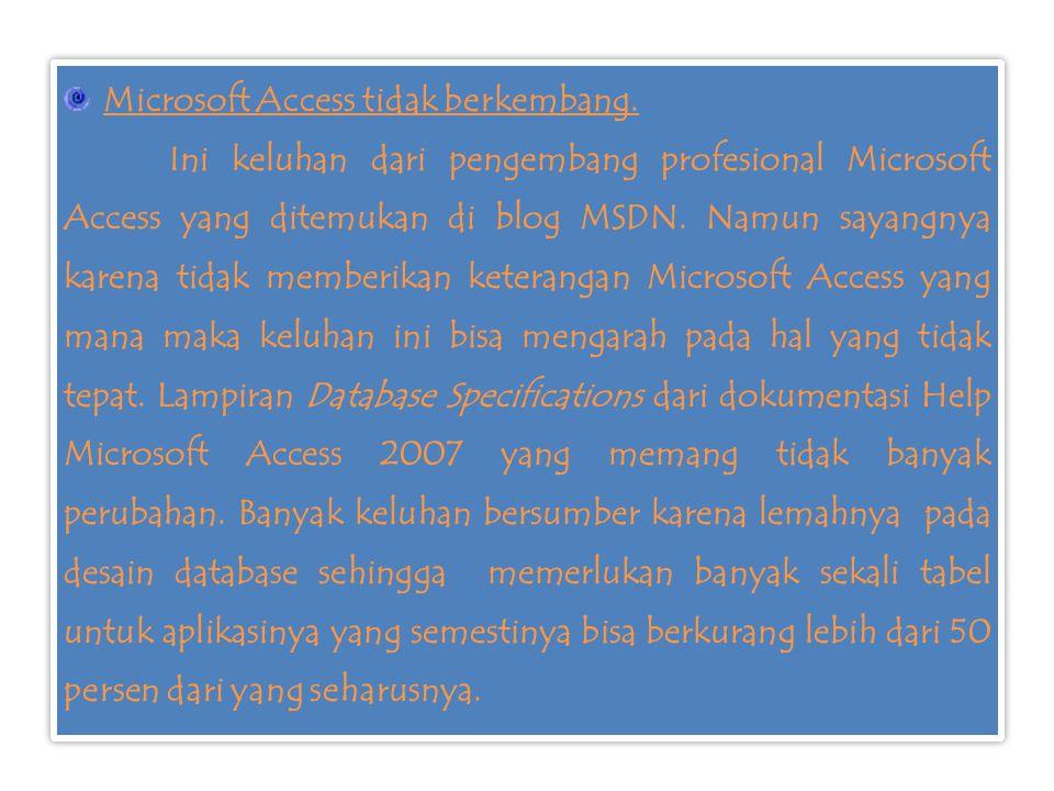 Microsoft Access tidak berkembang. Ini keluhan dari pengembang profesional Microsoft Access yang ditemukan di blog MSDN. Namun sayangnya karena tidak