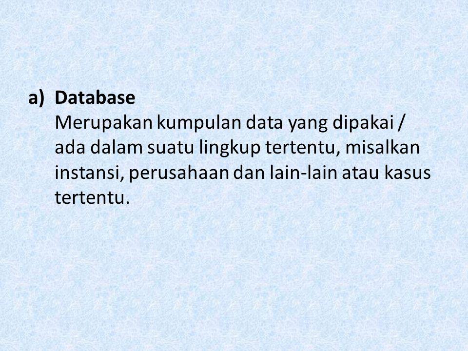 a)Database Merupakan kumpulan data yang dipakai / ada dalam suatu lingkup tertentu, misalkan instansi, perusahaan dan lain-lain atau kasus tertentu.