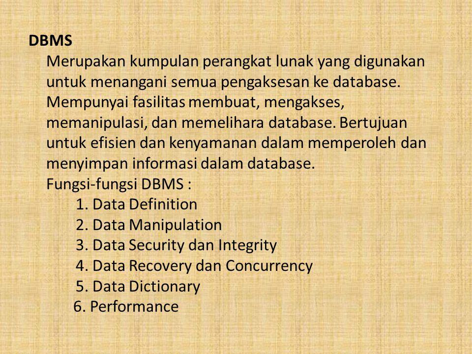 DBMS Merupakan kumpulan perangkat lunak yang digunakan untuk menangani semua pengaksesan ke database. Mempunyai fasilitas membuat, mengakses, memanipu