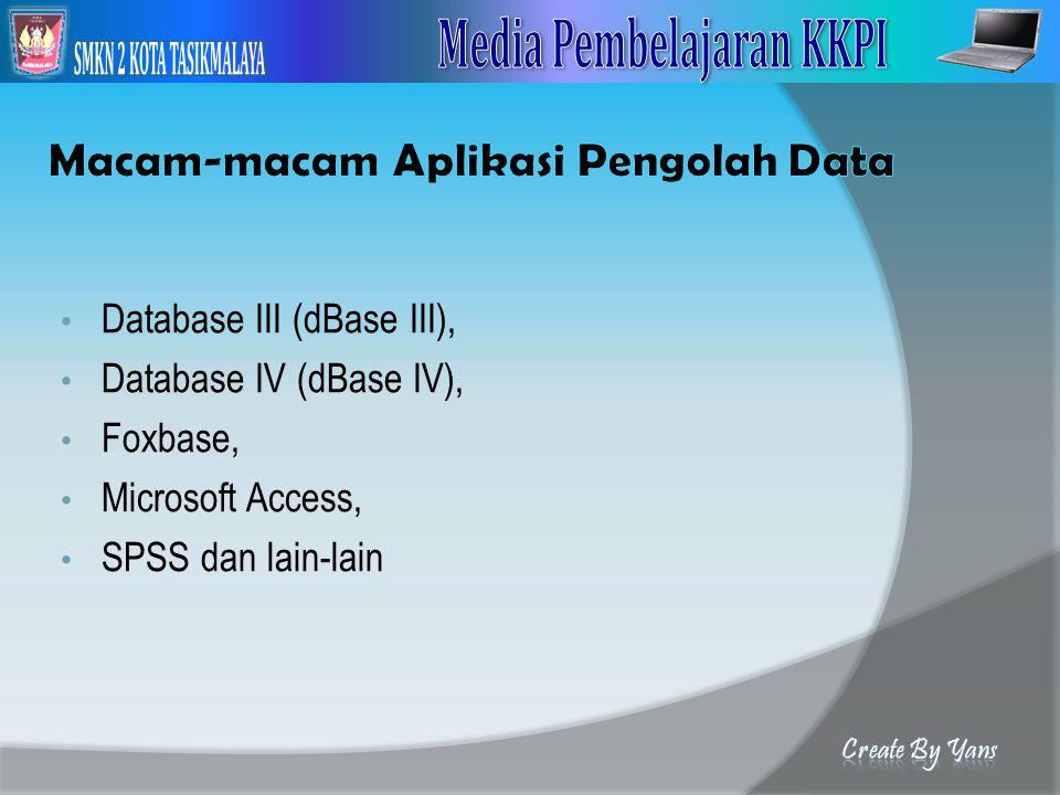 Database III (dBase III), Database IV (dBase IV), Foxbase, Microsoft Access, SPSS dan lain-lain