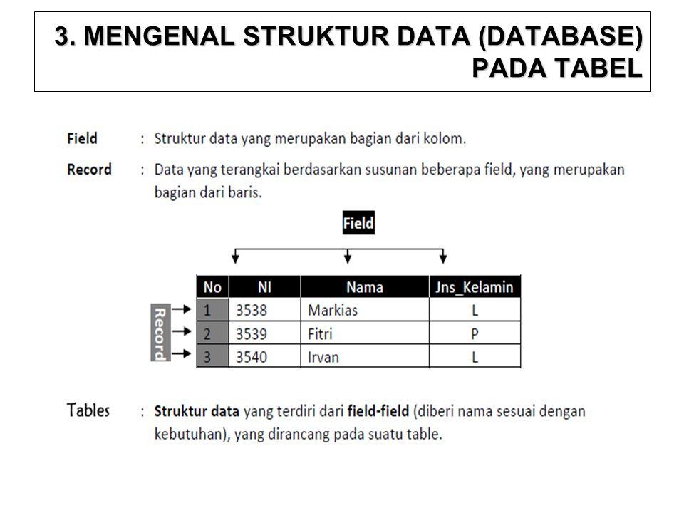 3. MENGENAL STRUKTUR DATA (DATABASE) PADA TABEL
