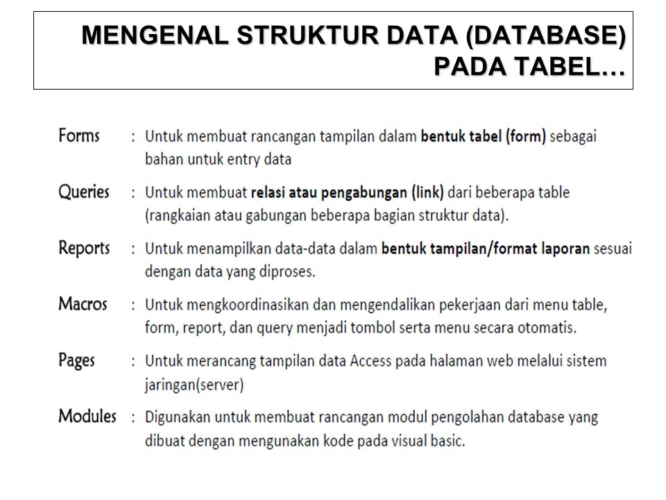 MENGENAL STRUKTUR DATA (DATABASE) PADA TABEL…