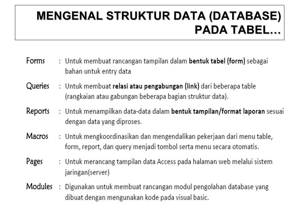 MENGENAL STRUKTUR DATA (DATABASE) PADA TABEL…