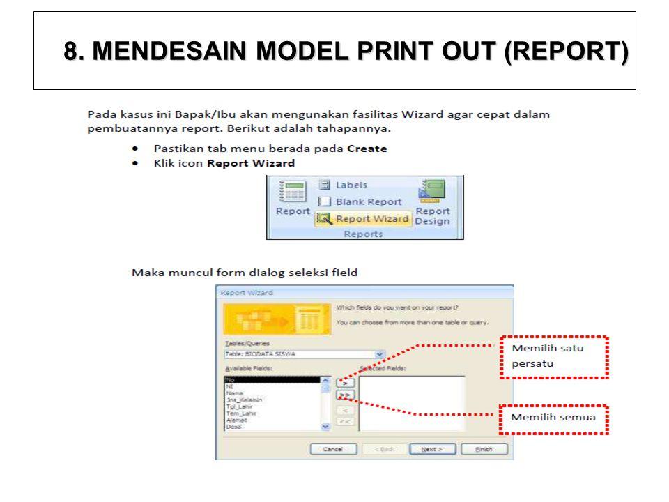 8. MENDESAIN MODEL PRINT OUT (REPORT)