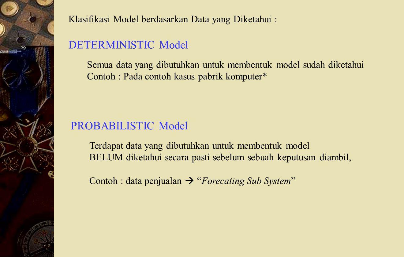 Klasifikasi Model berdasarkan Data yang Diketahui : DETERMINISTIC Model Semua data yang dibutuhkan untuk membentuk model sudah diketahui Contoh : Pada contoh kasus pabrik komputer* PROBABILISTIC Model Terdapat data yang dibutuhkan untuk membentuk model BELUM diketahui secara pasti sebelum sebuah keputusan diambil, Contoh : data penjualan  Forecating Sub System