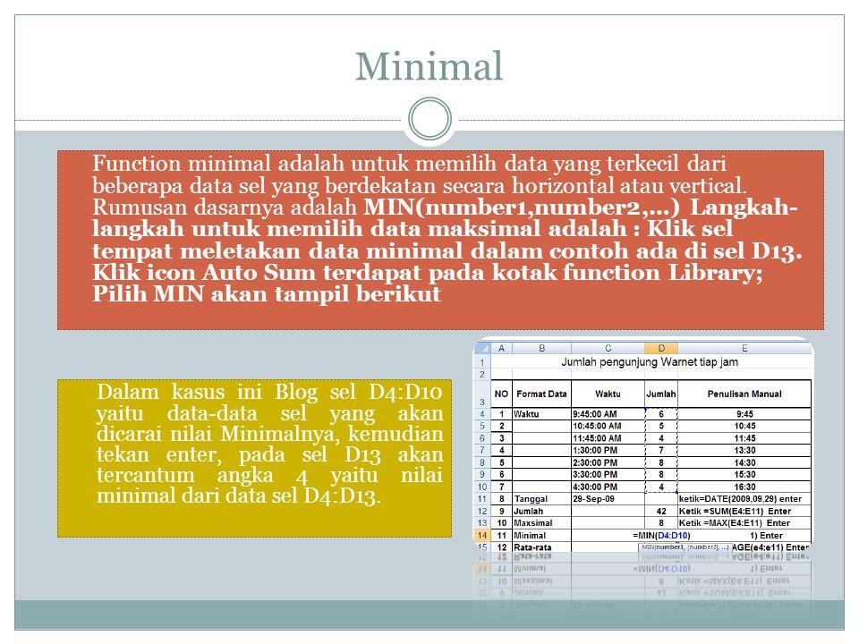 Minimal Function minimal adalah untuk memilih data yang terkecil dari beberapa data sel yang berdekatan secara horizontal atau vertical. Rumusan dasar