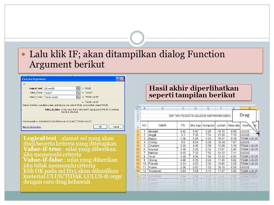Lalu klik IF; akan ditampilkan dialog Function Argument berikut Logical test : alamat sel yang akan diuji beserta kriteria yang ditetapkan Value-if-tr