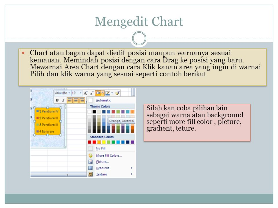 Mengedit Chart Chart atau bagan dapat diedit posisi maupun warnanya sesuai kemauan. Memindah posisi dengan cara Drag ke posisi yang baru. Mewarnai Are