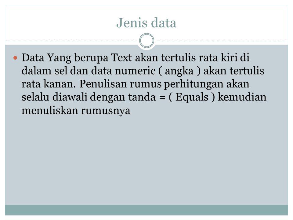 Jenis data Data Yang berupa Text akan tertulis rata kiri di dalam sel dan data numeric ( angka ) akan tertulis rata kanan. Penulisan rumus perhitungan