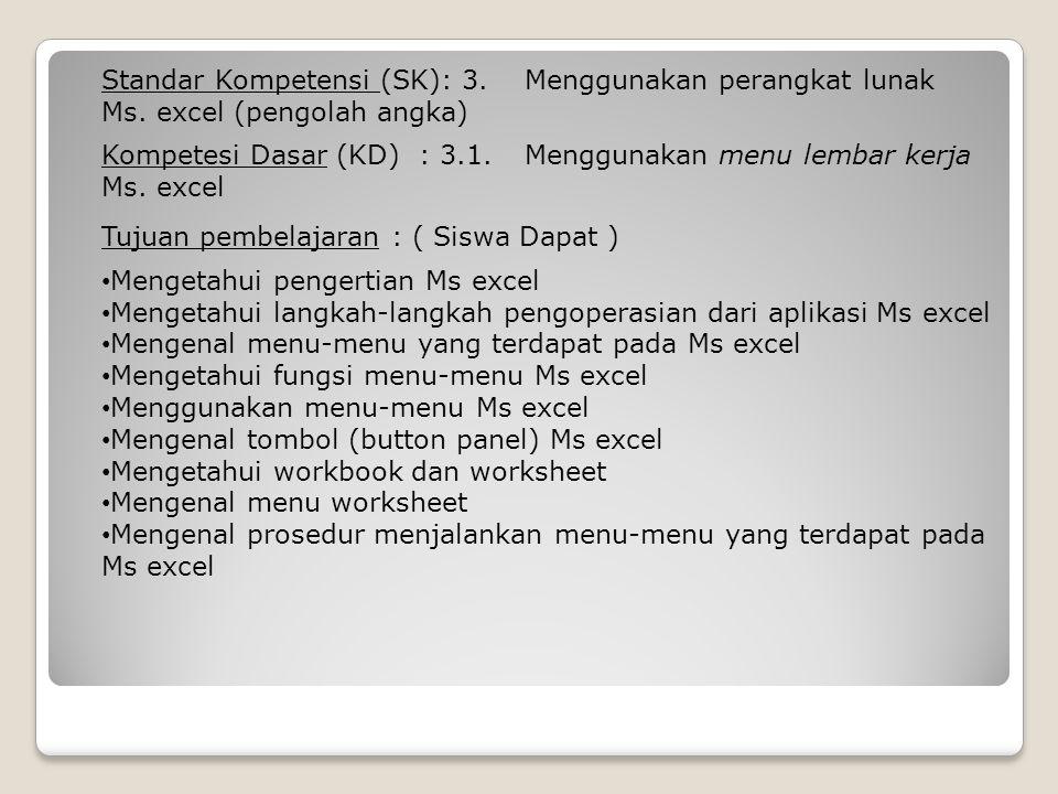 Kompetesi Dasar (KD): 3.1. Menggunakan menu lembar kerja Ms. excel Standar Kompetensi (SK): 3. Menggunakan perangkat lunak Ms. excel (pengolah angka)