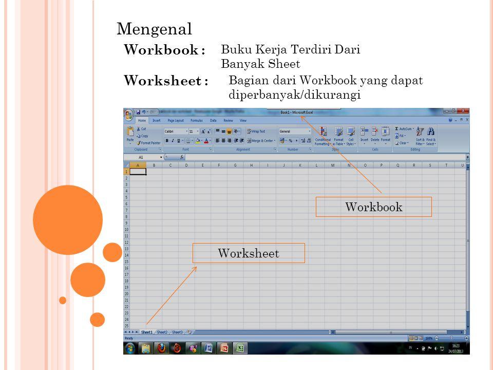 Mengenal Workbook : Buku Kerja Terdiri Dari Banyak Sheet Worksheet : Bagian dari Workbook yang dapat diperbanyak/dikurangi Worksheet Workbook