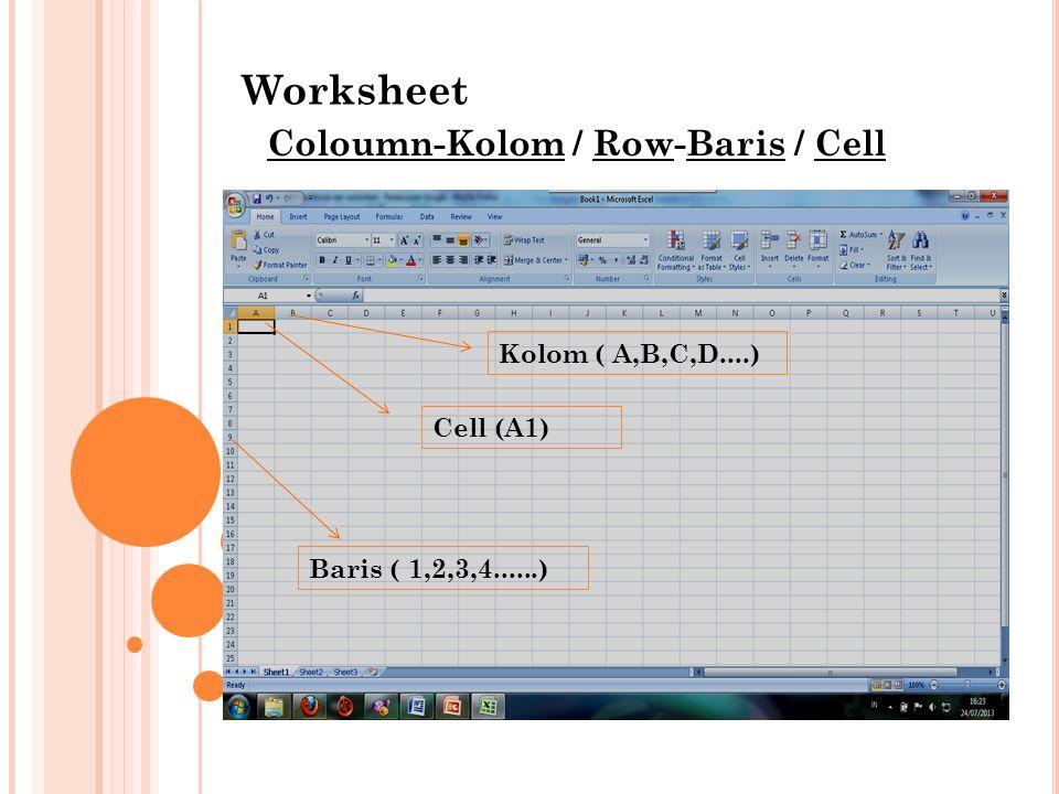 Worksheet Coloumn-Kolom / Row-Baris / Cell Kolom ( A,B,C,D....) Baris ( 1,2,3,4......) Cell (A1)