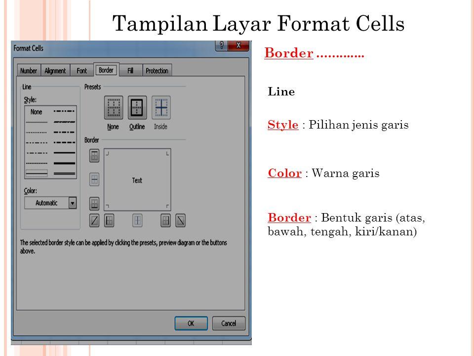 Contoh Menggunakan Format Border 1 Blok, Yang akan diberi garis Klik Format cells-Border 2 Pilih jenis garis Tentukan garis di border dengan cara mengklik.....