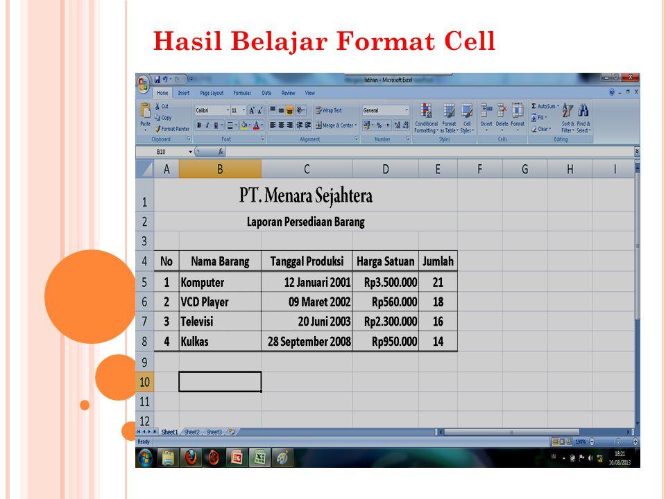 Hasil Belajar Format Cell