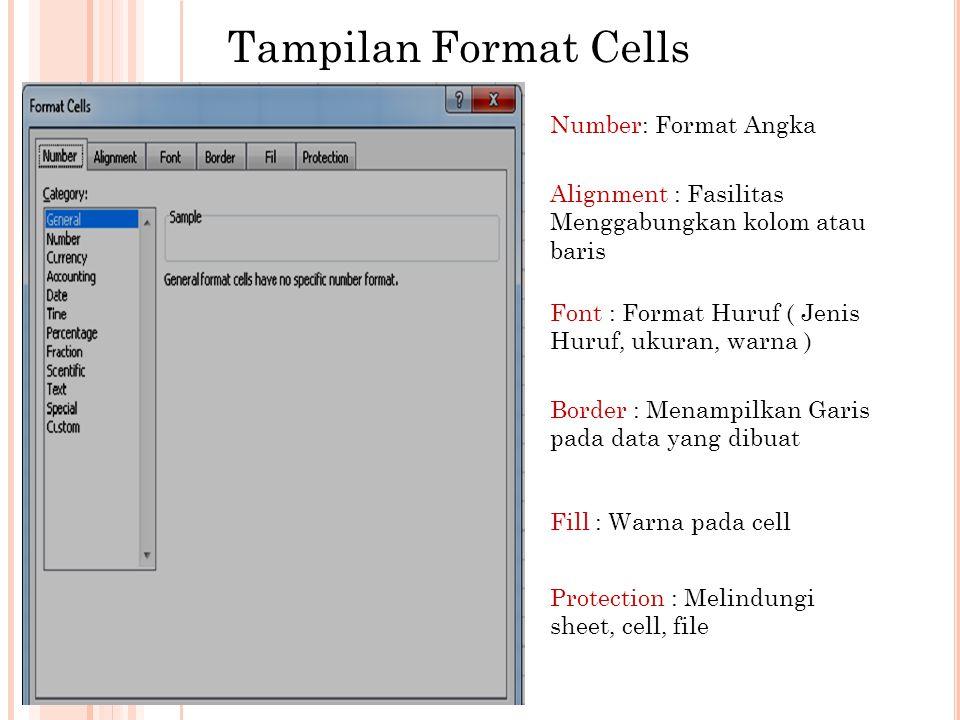 Tampilan Format Cells Number: Format Angka Alignment : Fasilitas Menggabungkan kolom atau baris Font : Format Huruf ( Jenis Huruf, ukuran, warna ) Border : Menampilkan Garis pada data yang dibuat Fill : Warna pada cell Protection : Melindungi sheet, cell, file