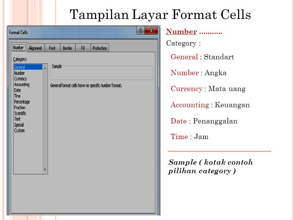 Tampilan Layar Format Cells Number...........