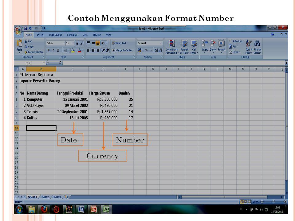 Contoh Menggunakan Format Number Date Currency Number