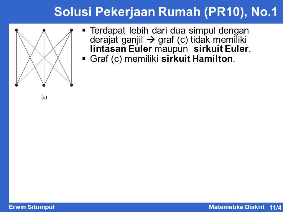 11/4 Erwin SitompulMatematika Diskrit Solusi Pekerjaan Rumah (PR10), No.1  Terdapat lebih dari dua simpul dengan derajat ganjil  graf (c) tidak memi