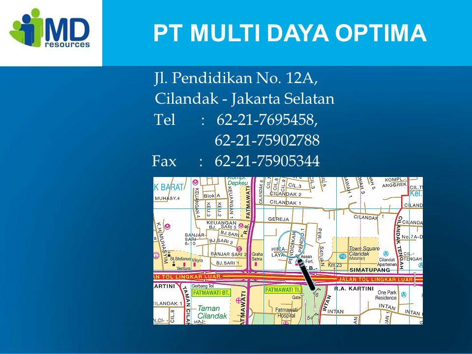 Jl. Pendidikan No. 12A, Cilandak - Jakarta Selatan Tel: 62-21-7695458, 62-21-75902788 Fax: 62-21-75905344 PT MULTI DAYA OPTIMA