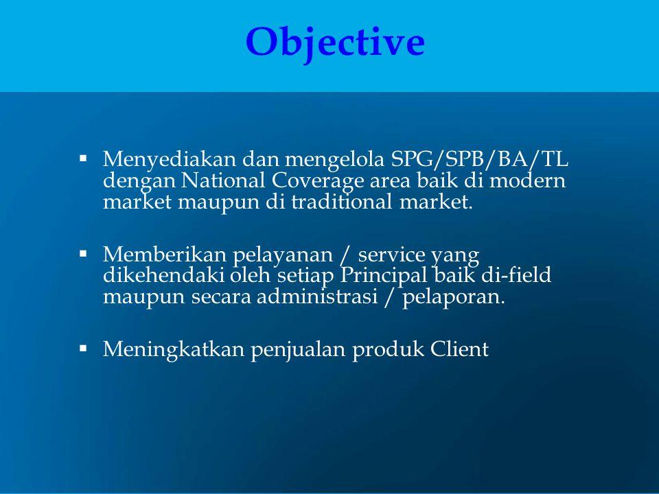 Objective  Menyediakan dan mengelola SPG/SPB/BA/TL dengan National Coverage area baik di modern market maupun di traditional market.  Memberikan pel