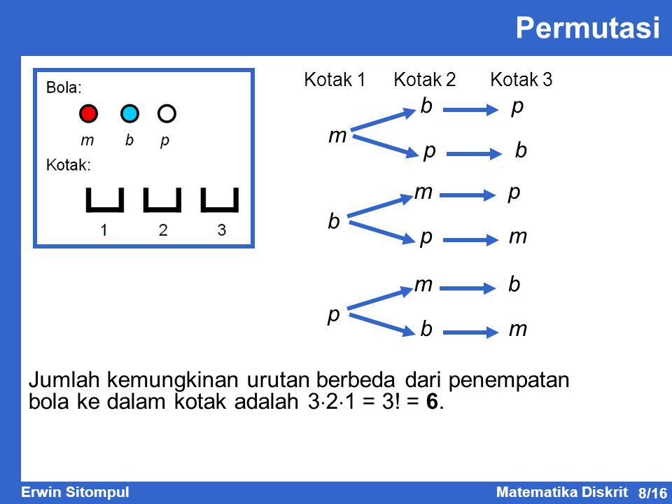 8/16 Erwin SitompulMatematika Diskrit Permutasi m bp pb b mp pm p mb bm Jumlah kemungkinan urutan berbeda dari penempatan bola ke dalam kotak adalah 3