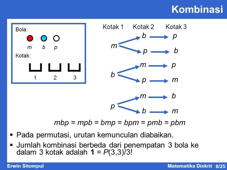 8/25 Erwin SitompulMatematika Diskrit m bp pb b mp pm p mb bm  Pada permutasi, urutan kemunculan diabaikan.  Jumlah kombinasi berbeda dari penempata