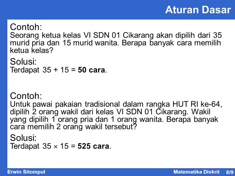 8/9 Erwin SitompulMatematika Diskrit Aturan Dasar Contoh: Seorang ketua kelas VI SDN 01 Cikarang akan dipilih dari 35 murid pria dan 15 murid wanita.