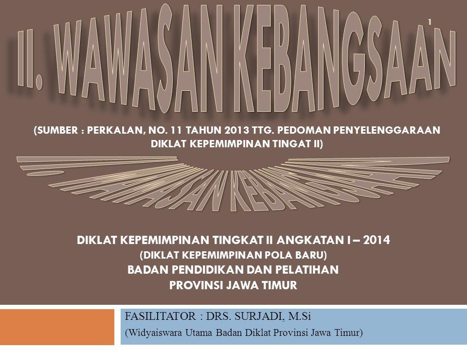 FASILITATOR : DRS. SURJADI, M.Si (Widyaiswara Utama Badan Diklat Provinsi Jawa Timur) DIKLAT KEPEMIMPINAN TINGKAT II ANGKATAN I – 2014 (DIKLAT KEPEMIM