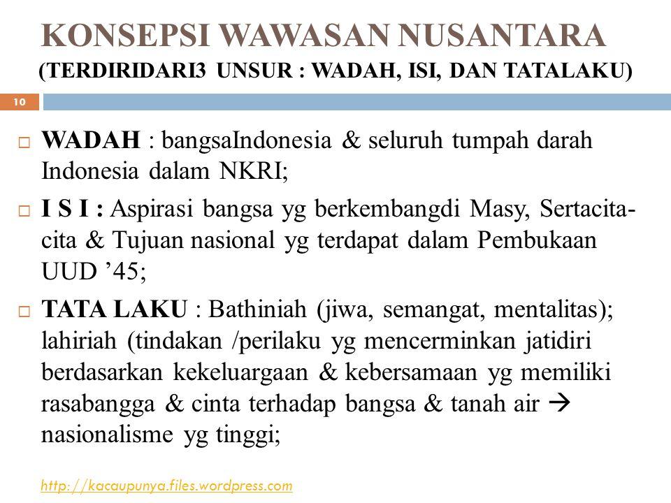 KONSEPSI WAWASAN NUSANTARA (TERDIRIDARI3 UNSUR : WADAH, ISI, DAN TATALAKU)  WADAH : bangsaIndonesia & seluruh tumpah darah Indonesia dalam NKRI;  I S I : Aspirasi bangsa yg berkembangdi Masy, Sertacita- cita & Tujuan nasional yg terdapat dalam Pembukaan UUD '45;  TATA LAKU : Bathiniah (jiwa, semangat, mentalitas); lahiriah (tindakan /perilaku yg mencerminkan jatidiri berdasarkan kekeluargaan & kebersamaan yg memiliki rasabangga & cinta terhadap bangsa & tanah air  nasionalisme yg tinggi; http://kacaupunya.files.wordpress.com 10