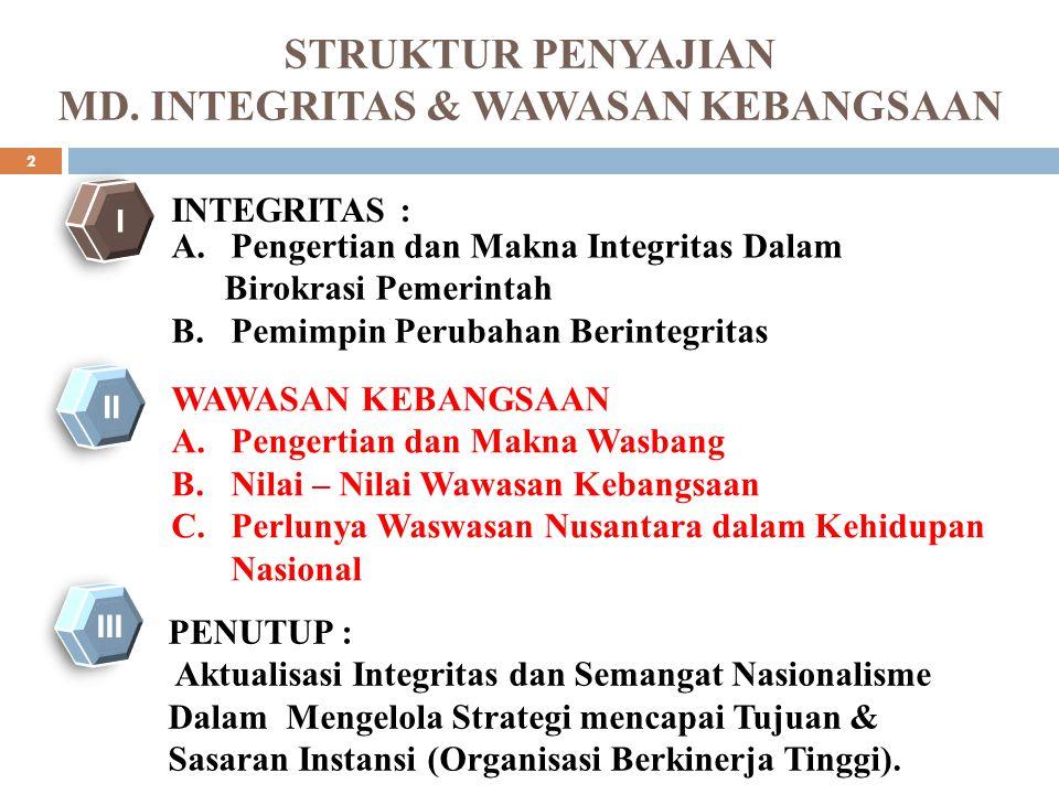 STRUKTUR PENYAJIAN MD. INTEGRITAS & WAWASAN KEBANGSAAN A.Pengertian dan Makna Integritas Dalam Birokrasi Pemerintah B.Pemimpin Perubahan Berintegritas