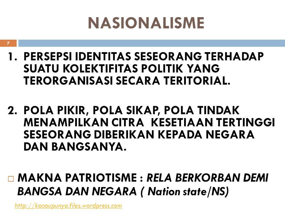 NASIONALISME 1.PERSEPSI IDENTITAS SESEORANG TERHADAP SUATU KOLEKTIFITAS POLITIK YANG TERORGANISASI SECARA TERITORIAL. 2.POLA PIKIR, POLA SIKAP, POLA T