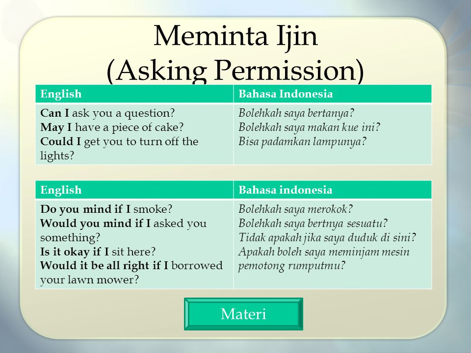 Meminta Ijin (Asking Permission) EnglishBahasa Indonesia Can I ask you a question.