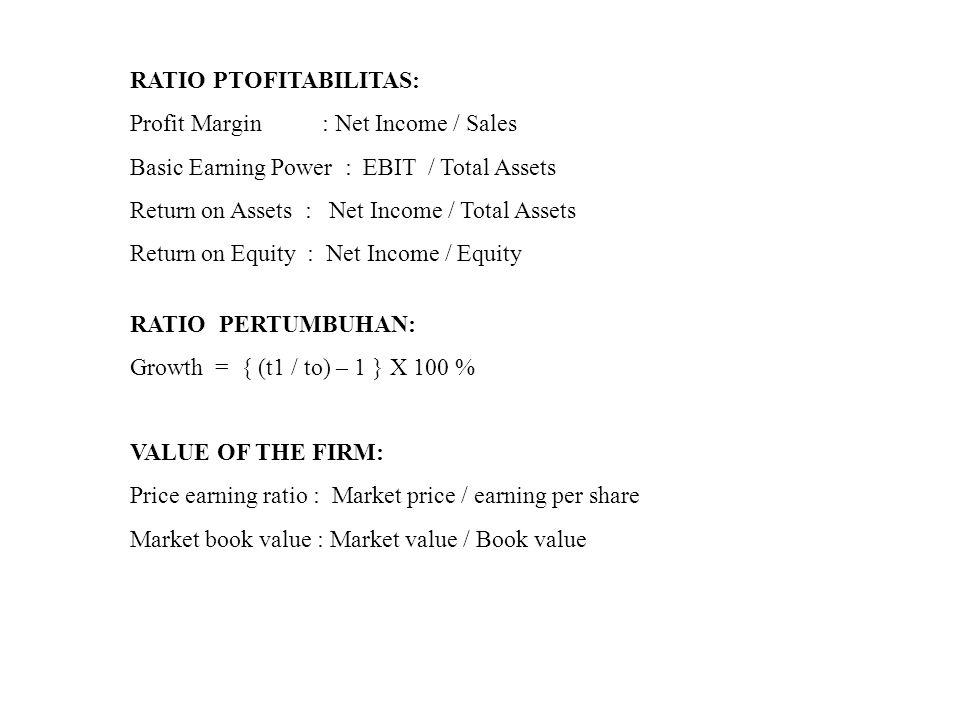 RATIO PTOFITABILITAS: Profit Margin: Net Income / Sales Basic Earning Power : EBIT / Total Assets Return on Assets : Net Income / Total Assets Return