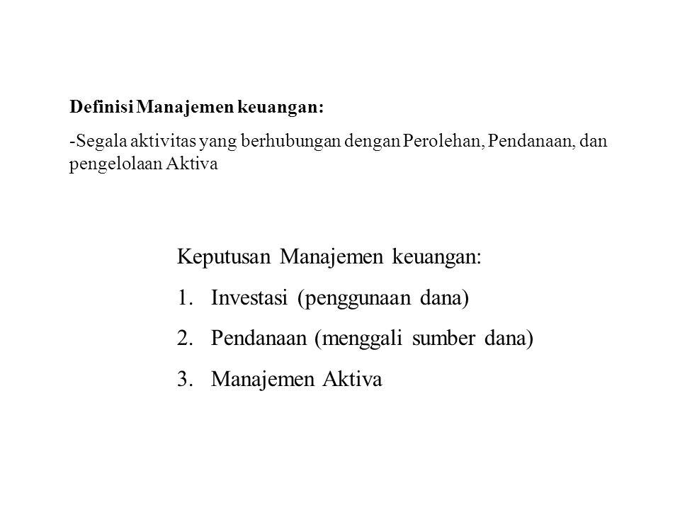 Definisi Manajemen keuangan: -Segala aktivitas yang berhubungan dengan Perolehan, Pendanaan, dan pengelolaan Aktiva Keputusan Manajemen keuangan: 1.In