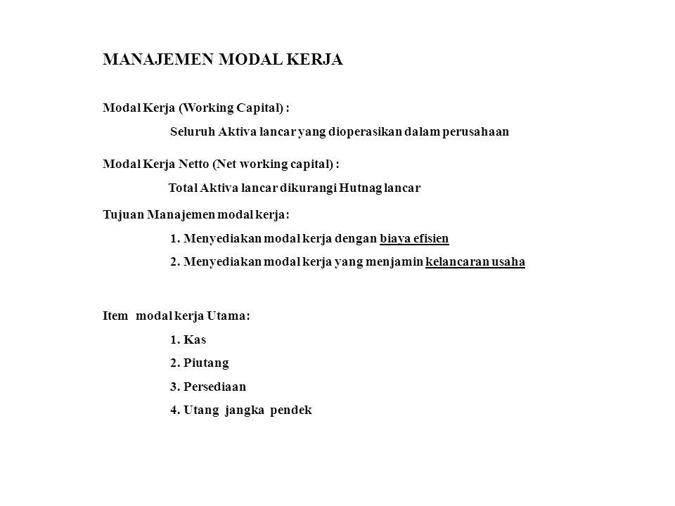 MANAJEMEN MODAL KERJA Modal Kerja (Working Capital) : Seluruh Aktiva lancar yang dioperasikan dalam perusahaan Modal Kerja Netto (Net working capital)