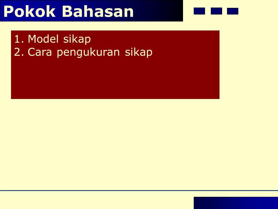 1.Model sikap 2.Cara pengukuran sikap Pokok Bahasan