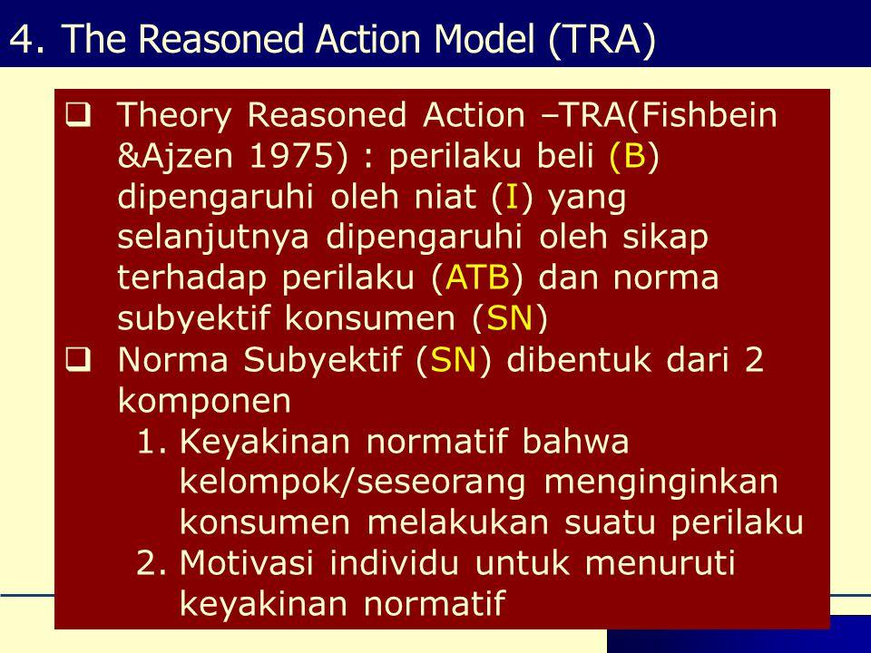 Theory Reasoned Action –TRA(Fishbein &Ajzen 1975) : perilaku beli (B) dipengaruhi oleh niat (I) yang selanjutnya dipengaruhi oleh sikap terhadap perilaku (ATB) dan norma subyektif konsumen (SN)  Norma Subyektif (SN) dibentuk dari 2 komponen 1.Keyakinan normatif bahwa kelompok/seseorang menginginkan konsumen melakukan suatu perilaku 2.Motivasi individu untuk menuruti keyakinan normatif 4.