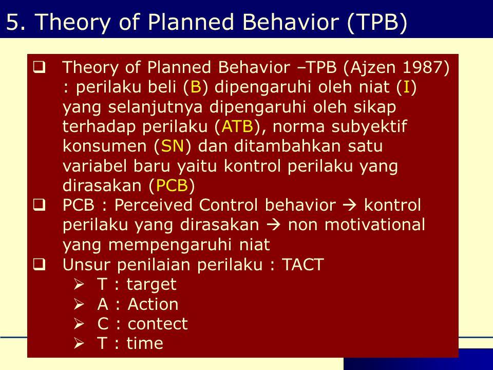  Theory of Planned Behavior –TPB (Ajzen 1987) : perilaku beli (B) dipengaruhi oleh niat (I) yang selanjutnya dipengaruhi oleh sikap terhadap perilaku (ATB), norma subyektif konsumen (SN) dan ditambahkan satu variabel baru yaitu kontrol perilaku yang dirasakan (PCB)  PCB : Perceived Control behavior  kontrol perilaku yang dirasakan  non motivational yang mempengaruhi niat  Unsur penilaian perilaku : TACT  T : target  A : Action  C : contect  T : time 5.