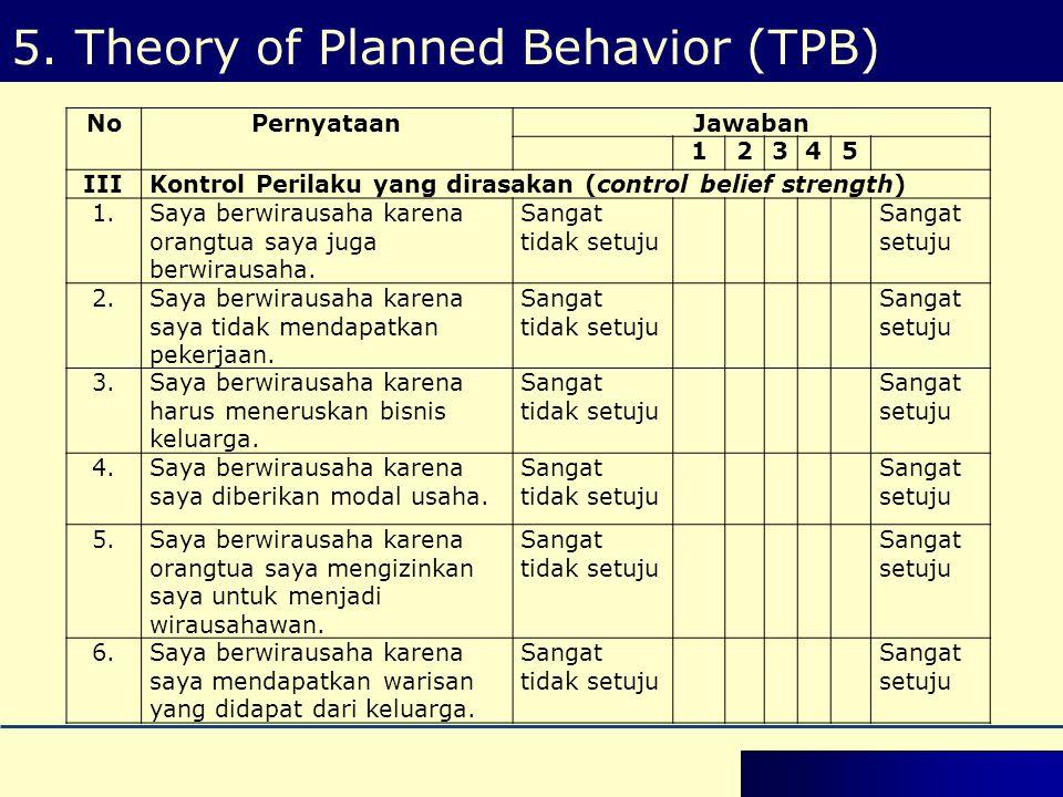 5. Theory of Planned Behavior (TPB) NoPernyataanJawaban 12345 IIIKontrol Perilaku yang dirasakan (control belief strength) 1.Saya berwirausaha karena