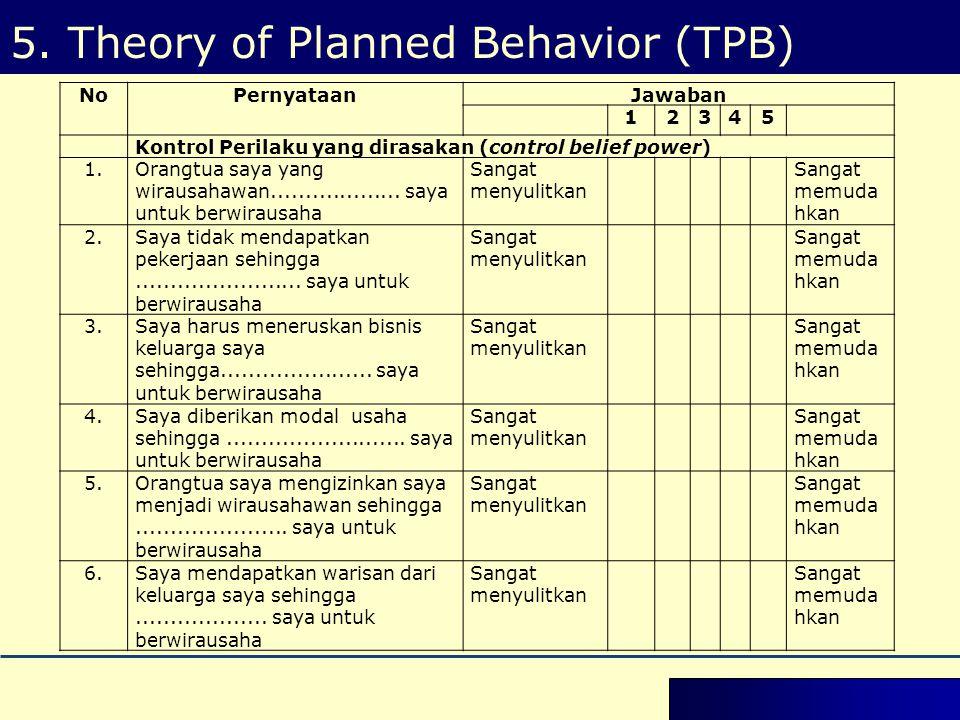 5. Theory of Planned Behavior (TPB) NoPernyataanJawaban 12345 Kontrol Perilaku yang dirasakan (control belief power) 1.Orangtua saya yang wirausahawan