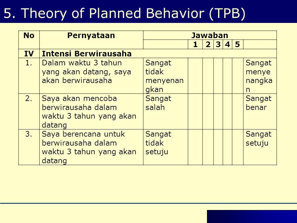 5. Theory of Planned Behavior (TPB) NoPernyataanJawaban 12345 IVIntensi Berwirausaha 1.Dalam waktu 3 tahun yang akan datang, saya akan berwirausaha Sa