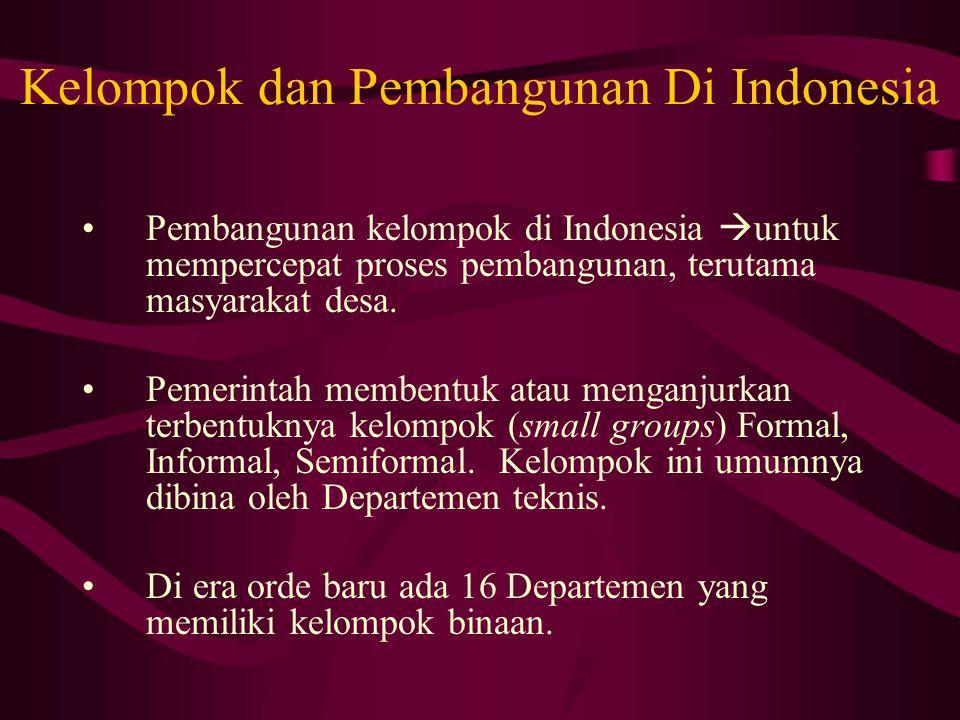 Kelompok dan Pembangunan Di Indonesia Pembangunan kelompok di Indonesia  untuk mempercepat proses pembangunan, terutama masyarakat desa.