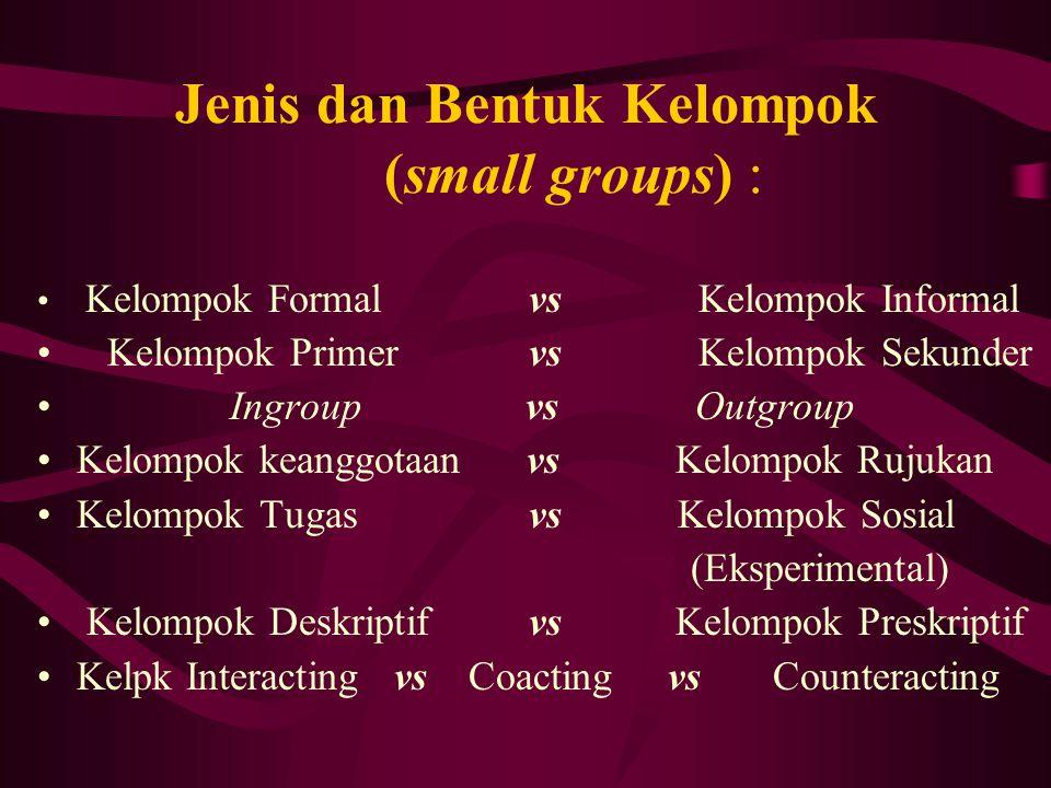 Jenis dan Bentuk Kelompok (small groups) : Kelompok Formal vs Kelompok Informal Kelompok Primer vs Kelompok Sekunder Ingroup vs Outgroup Kelompok kean