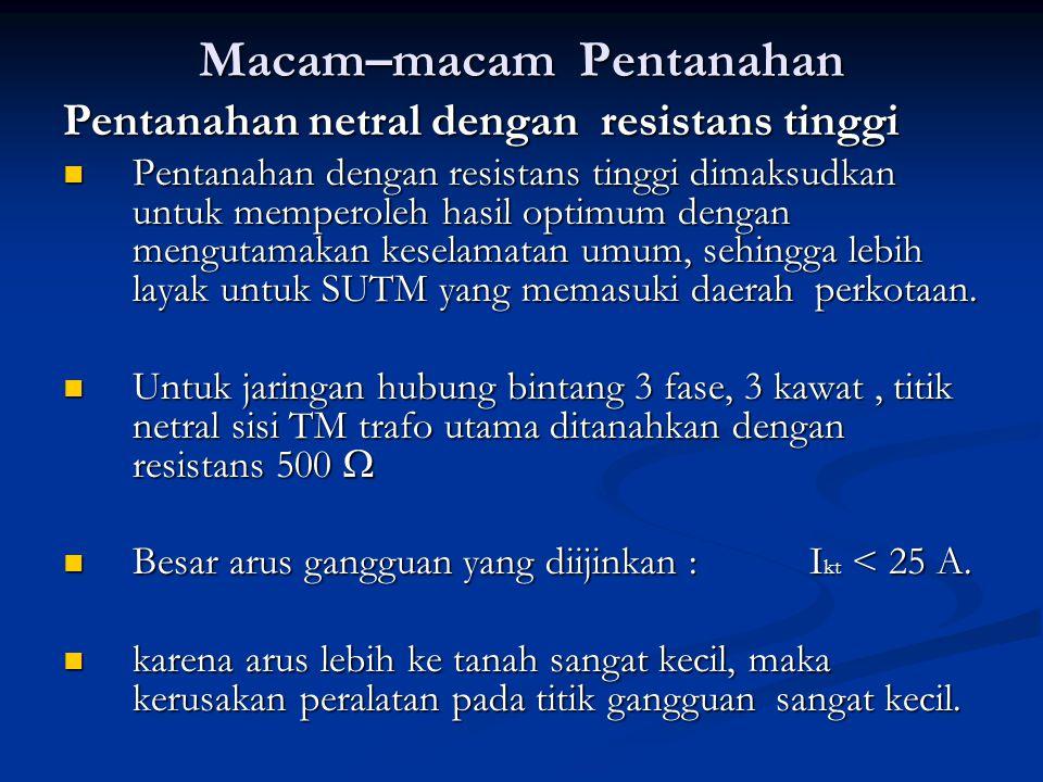 Macam–macam Pentanahan Pentanahan netral dengan resistans tinggi Pentanahan dengan resistans tinggi dimaksudkan untuk memperoleh hasil optimum dengan