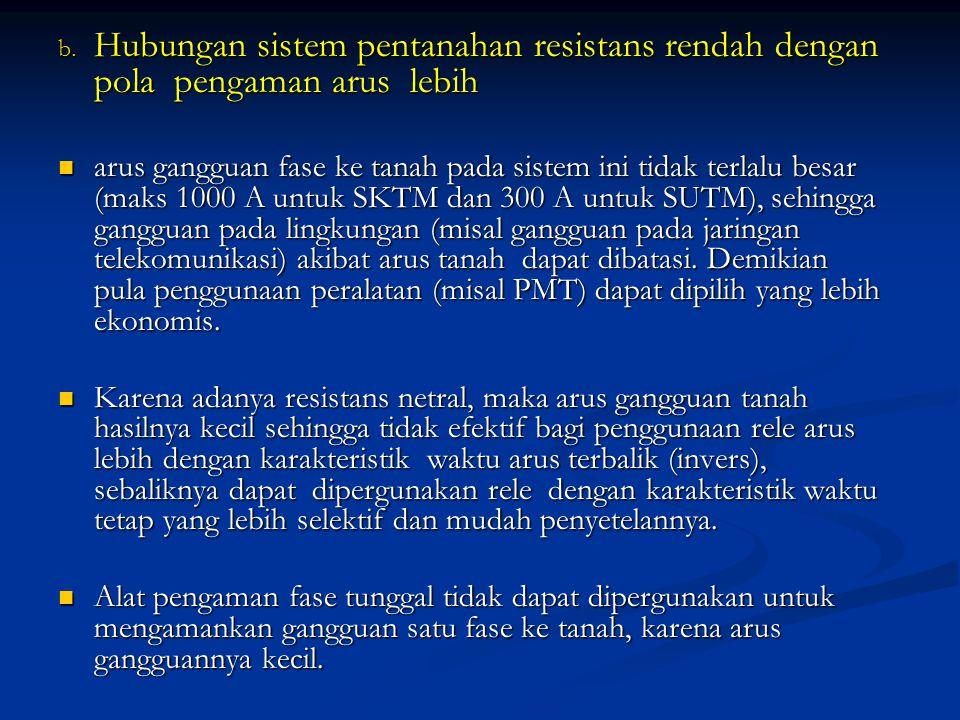 b. Hubungan sistem pentanahan resistans rendah dengan pola pengaman arus lebih arus gangguan fase ke tanah pada sistem ini tidak terlalu besar (maks 1