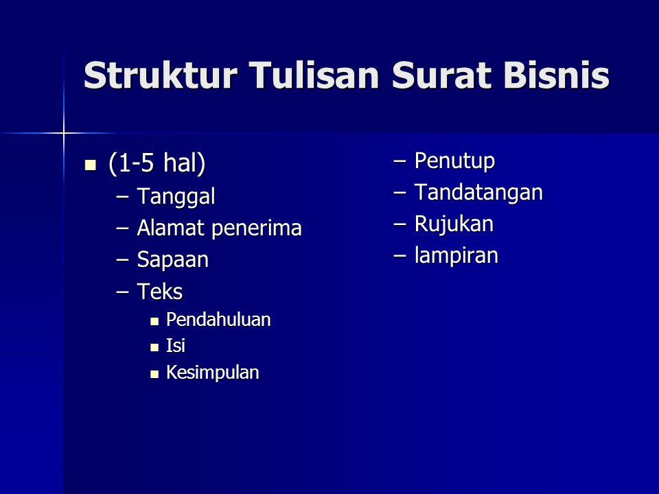 Struktur Tulisan Surat Bisnis (1-5 hal) (1-5 hal) –Tanggal –Alamat penerima –Sapaan –Teks Pendahuluan Pendahuluan Isi Isi Kesimpulan Kesimpulan –Penut