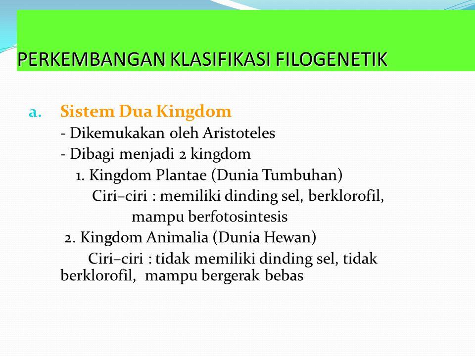 3. Klasifikasi Sistem Filogenetik Bertolak dari teori evolusi Darwin Muncul sistem klasifikasi modern berdasarkan filogeni Dasar klasifikasi yang digu