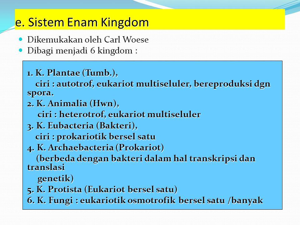 d. Sistem Lima Kingdom Dikemukakan oleh Robert H. Whittaker Dibagi menjadi 5 kingdom : 1. Kingdom Monera, ciri : prokariotik (Archaebacteria dan Eubac