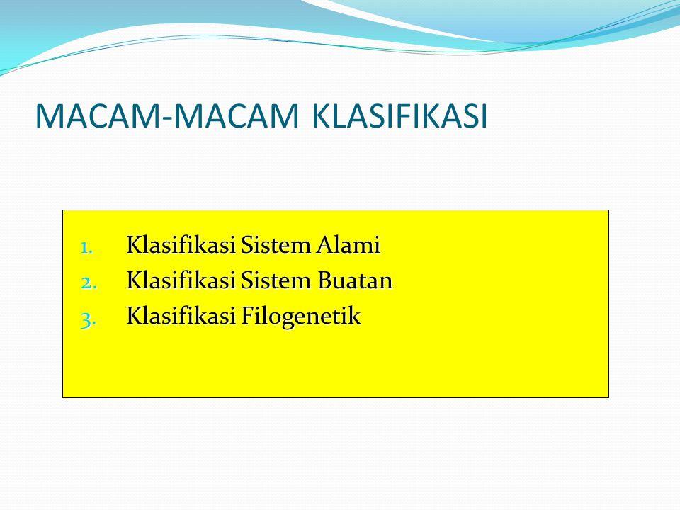 MACAM-MACAM KLASIFIKASI 1.Klasifikasi Sistem Alami 2.